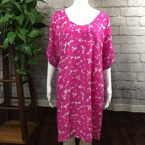 🍃NY & Co. pink & white floral size large dress